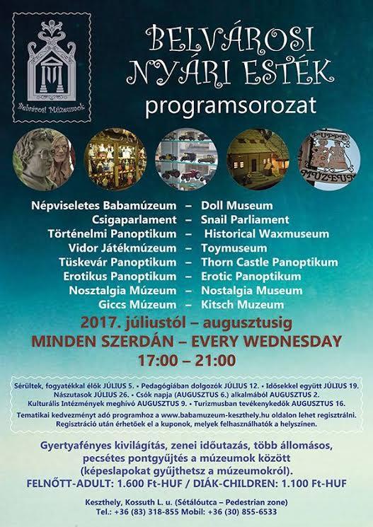 Belvárosi Nyári Esték programsorozat Keszthelyen a Belvárosi Múzeumokban