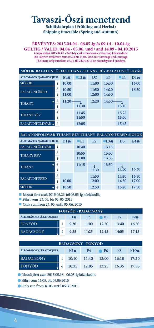 Balatoni Hajózás menetrend 2015 ősz