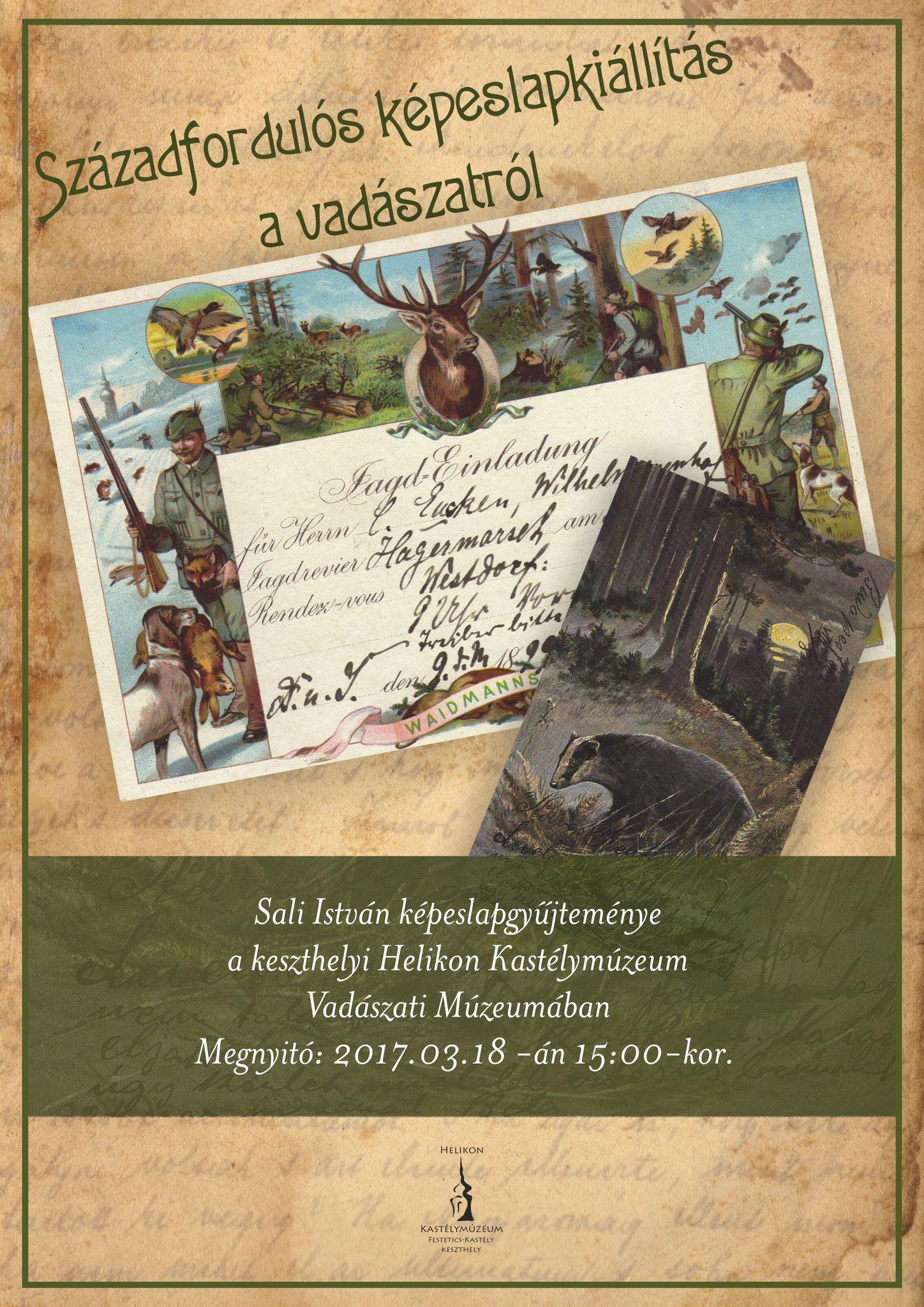 Vadászati témájú képeslapkiállítás Keszthelyen