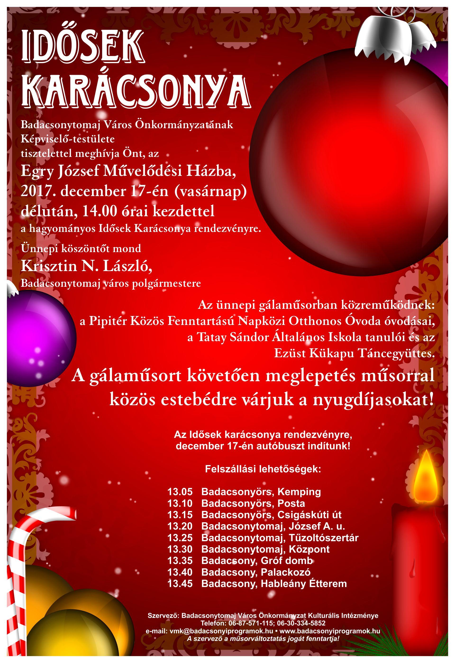 Badacsonytomaj Idősek Karácsonya 2017 plakát
