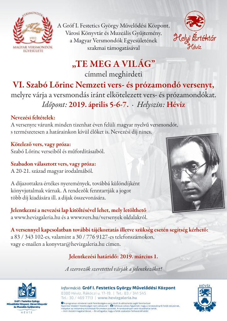 VI Szabo Loerinc Nemzeti vers- es prozamondo verseny felhivo